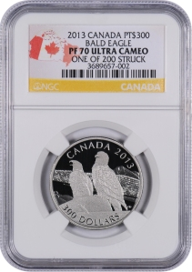 2013 Canada Bald Eagle Platinum PF70 UC NGC with OGP