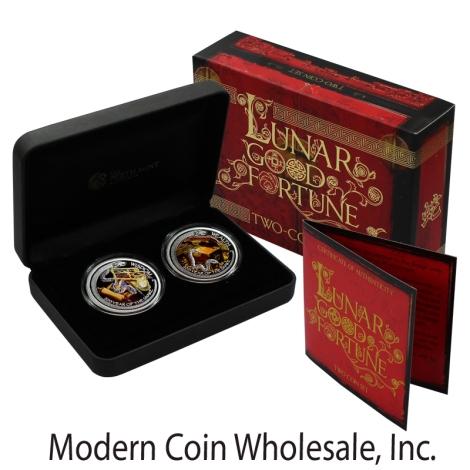2013 Australia Silver 1oz Lunar Good Fortune Snake Wealth and Wisdom 2pc Colorized Set