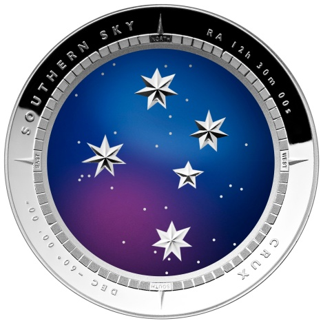 2012 Australia Crux Southern Sky 1 oz Pure Silver $5 Dollars Colorized Coin Wholesale